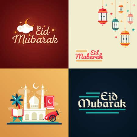 islamic prayer: Set of modern flat design postcard templates set with icons of islamic holiday, culture, traditional greeting Eid Mubarak. Camel, cannon, mosque, prayer beads, lamp Illustration