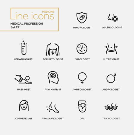 dermatologist: Medical profession simple thin line design icons, pictograms set. Immunologist, dermatologist Illustration