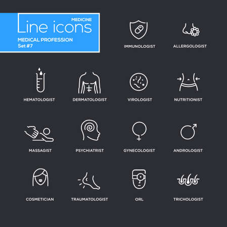 massagist: Medical profession simple thin line design icons, pictograms set with black background. Immunologist, dermatologist, allergologist, traumatologist, psychiatrist Illustration