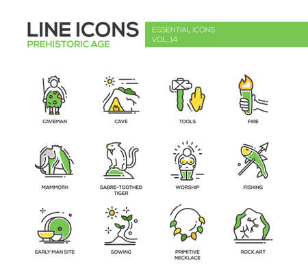 Set of modern line design icons and pictograms of pregistoric age life. Caveman, cave, tools, fire, fire, mammoth, sabre-toothed tiger, worship, fishing, early man site, sowing, rock art Illustration