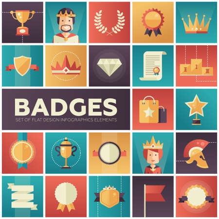 Modern vector flat design merit awards icons set. Decorative elements - ribbon, cup, medal, certificate, badge, crown, laurels Vettoriali