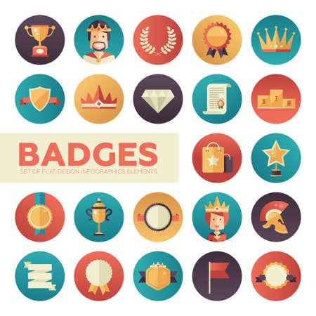 merit: Modern vector flat design merit awards icons set. Decorative elements - ribbon, cup, medal, certificate, badge, crown, laurels Illustration