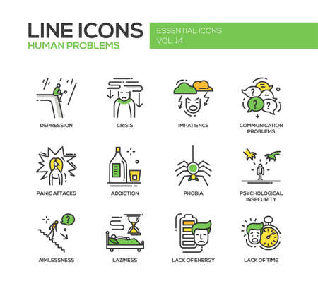 Set of modern vector line design icons and pictograms of common human psychological problems. Crisis, impatience, depression, panic attacs, insecurity, phobia, addictions, aimlessness, laziness, energy, time lack