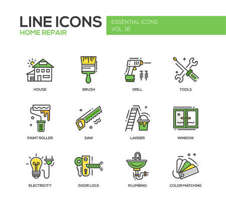 Set of modern vector line design icons and pictograms of home repair process and tools. Brush, drill, saw, paint roller, ladder, window, door lock, electrcity, plumbing, color matching Çizim