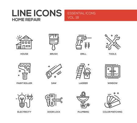 現代ベクトル線のデザイン アイコンと家の修理プロセスとツールのピクトグラムのセットです。ブラシ、ドリル、のこぎり、ペイント ローラー、は