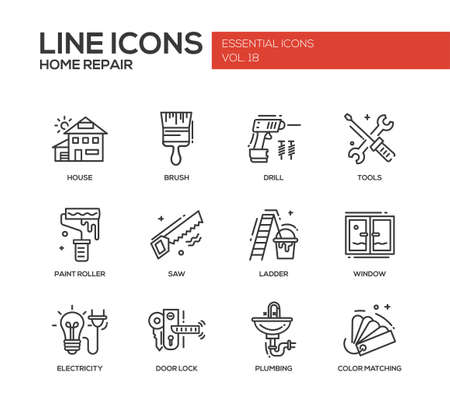 Set of modern vector line design icons and pictograms of home repair process and tools. Brush, drill, saw, paint roller, ladder, window, door lock, electrcity, plumbing, color matching Vettoriali