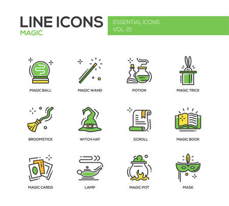 wicked set: Set of modern vector line design icons and pictograms of magic and fairy tale elements. Wand, potion, trick, witch hat, broomstick, mask, lamp, cards, pot, scroll, book Illustration