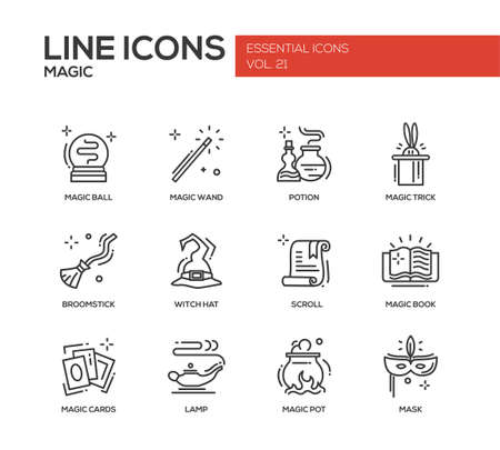 wicked set: Set of modern vector simple line design icons and pictograms of magic and fairy tale elements. Wand, potion, trick, witch hat, broomstick, mask, lamp, cards, pot, scroll, book