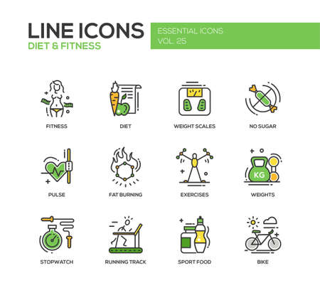 weight scales: Set of modern vector line design icons and pictograms of diet, fitness and healthy lifestyle elements. Weight scales, pulse, exercises, bike, sport, sugar free food, stopwatch, running track