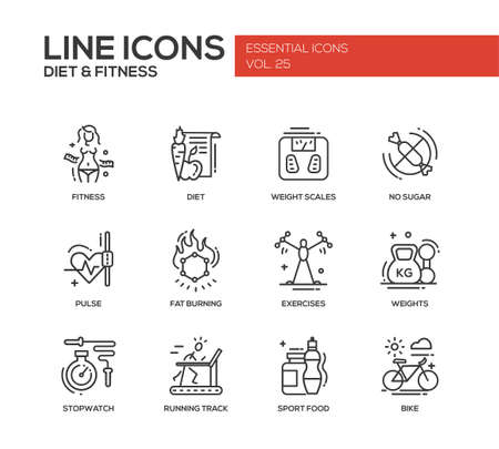 running track: Set of modern vector plain line design icons and pictograms of diet, fitness and healthy lifestyle elements. Weight scales, pulse, exercises, bike, sport, sugar free food, stopwatch, running track Illustration