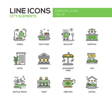 Set of modern vector line design icons and pictograms of city buildings and elements. Hotel, bus stop, museum, taxi, bicycle track, wifi zone, hostel, tram, hospital, fast food, parks, amusement park