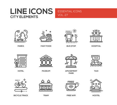 hostel: Set of modern vector plain line design icons and pictograms of city buildings and elements. Hotel, bus stop, museum, taxi, bicycle track, wifi zone, hostel, tram, hospital, fast food, parks, amusement park