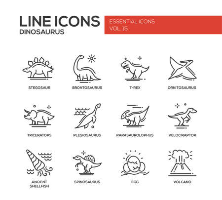 Set of modern vector plain line design icons and pictograms of dinosaurs species, prehistoric age life. Stegosaur, t-rex, brontosaurus, ornitosaurus, plesiosaurus, triceratops, velociraptor, spinosaurus Illustration
