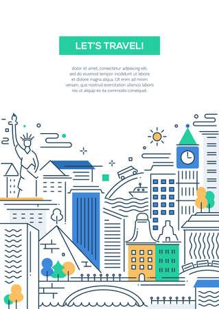 세계적으로 유명한 랜드 마크 벡터 현대 라인 플랫 디자인 여행 컴포지션 - 여행을 할 수 있습니다