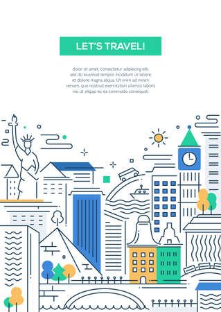 city icon: Lets travel - vector modern line flat design traveling composition with world famous landmarks