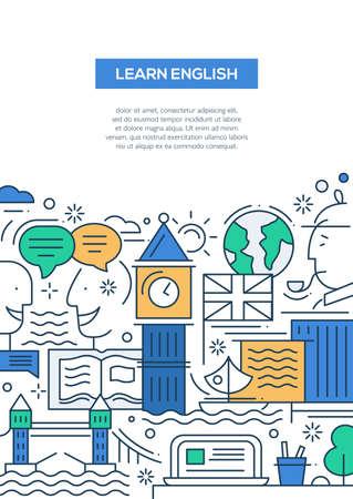 영어 배우기 - 벡터 영국의 유명한 상징과 랜드 마크와 컴포지션을 여행하는 현대 라인 플랫 디자인