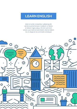 english famous: Learn English - vector modern line flat design traveling composition with British famous symbols and landmarks Illustration