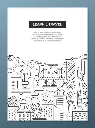 학습 여행 - 여행과 학습 심볼, 세계적으로 유명한 랜드 마크 벡터 현대 라인 플랫 디자인 구성 스톡 콘텐츠 - 58182659