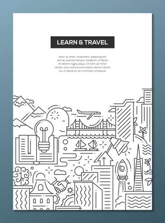 Learn and travel - vector modern line flat design composition with traveling and learning symbols, world famous landmarks