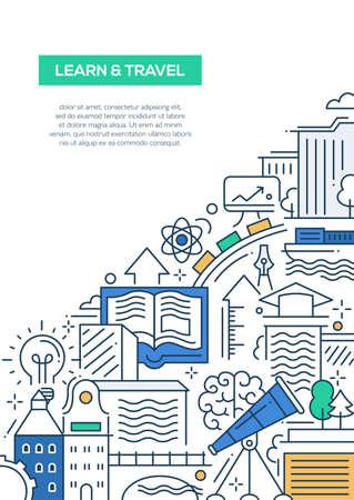 학습 여행 - 여행과 학습 심볼, 세계적으로 유명한 랜드 마크 벡터 현대 라인 플랫 디자인 구성 일러스트