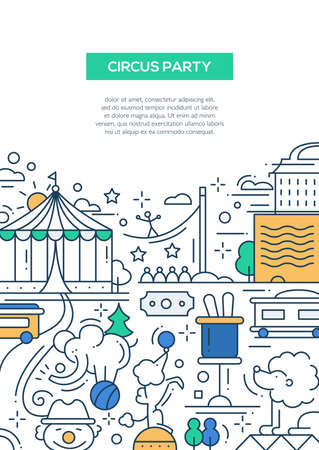 clowning: Circus and carnival party line flat design composition, poster with holiday symbols and elements Illustration