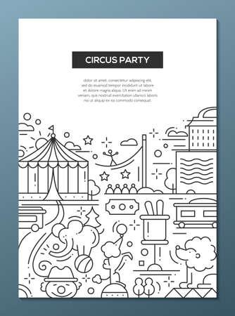 payasos caricatura: Circo y simple línea de diseño plano composición fiesta de carnaval, cartel con símbolos de vacaciones y elementos