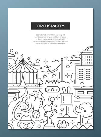 Circus and carnival party simple line flat design composition, poster with holiday symbols and elements