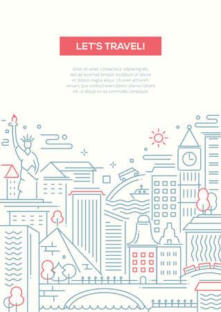 Vamos a viajar - vector moderno diseño plano simple línea de composición viajar con famosos del mundo