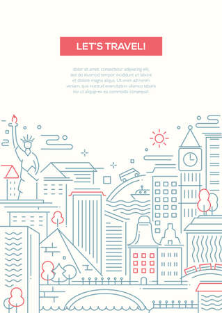 Lets travel - vector modern simple line flat design traveling composition with world famous landmarks Illustration