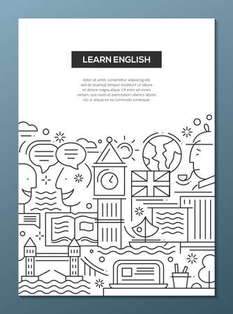 english famous: Learn English - vector modern simple line flat design traveling composition with British famous symbols and landmarks