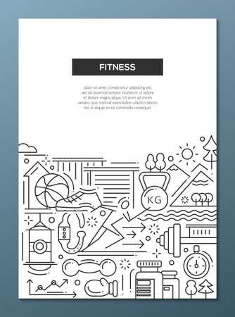現代ベクトル シンプルなライン デザインの組成物の体力と健康的なライフ スタイルの要素