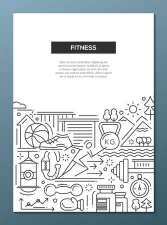 Modern vector simple line design composition of fitness and healthy lifestyle elements