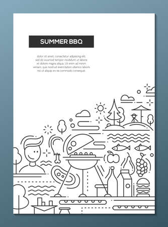 Vector flat simple line design summer barbecue and picnic poster, banner with bbq infographics elements