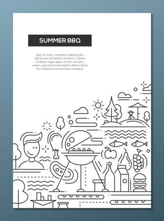 矢量平面简单的线条设计夏季烧烤和野餐海报,横幅与烧烤信息图形元素
