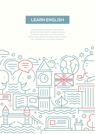 learn english: Learn English - vector modern simple line flat design traveling composition with British famous symbols and landmarks