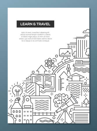 Learn and travel - vector modern simple line flat design composition with traveling and learning symbols, world famous landmarks Illustration