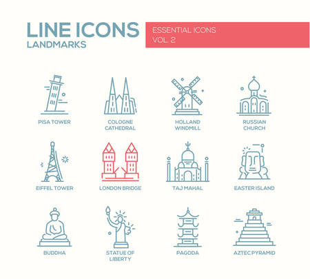 pisa tower: Set of modern vector plain line design icons and pictograms of world famous landmarks. London bridge, Cologne Cahedral, Holland windmill, Russian church, Eiffel tower, Pisa tower, Taj Mahal, Easter island, Buddha, Statue of Liberty, Pagoda, Aztec Pyramid