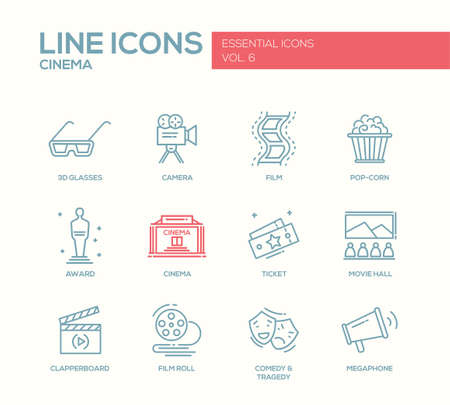 comedy and tragedy: Set of modern vector simple plain line design icons and pictograms of cinema and movie production. 3d glasses, film, pop corn, camera, award, ticket, movie hall, clapperboard, roll, comedy, tragedy, megaphone