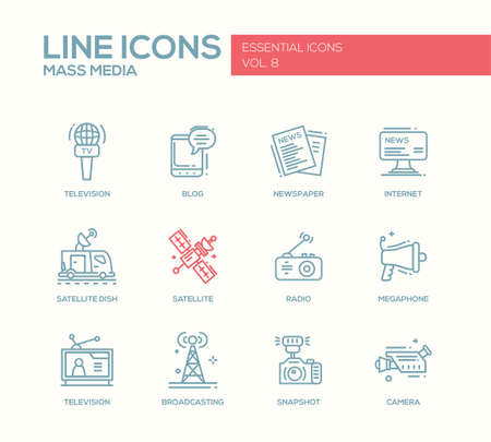 internet radio: Set of modern vector plain simple line design mass media icons and pictograms. Tv, newspaper, blog, internet, radio satellite, megaphone, broadcasting, camera, snapshot Illustration