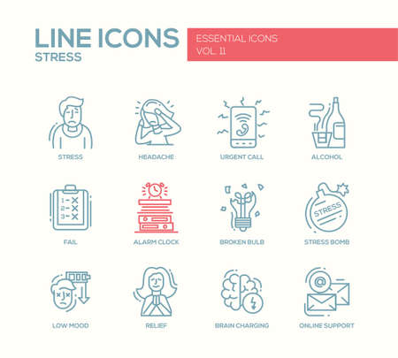 relief: Set of modern vector plain line design icons and pictograms of stress and nervous breakdown. Headache, urgent call, alcohol, fail, alarm clock, low mood, relief, online support