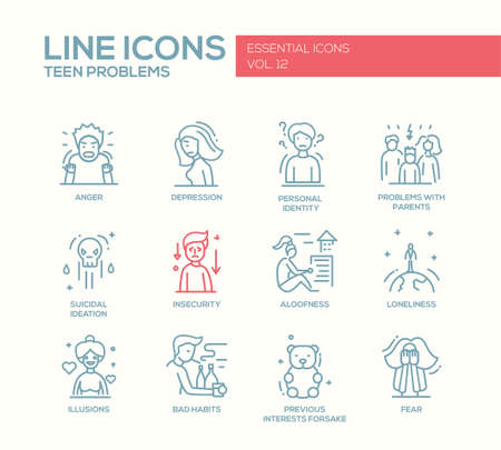 Set of modern vector plain line design icons and pictograms of teenager problems. Anger, depression, personal identity, problems with parents, insecurity, aloofness, loneliness, illusions, bad habits, fear Illustration