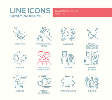 Set of modern vector plain line design icons and pictograms of family problems. Violation, psychological abuse, qurrels, poverty, alcohol, criticism, loss of intimacy, relatives interference, cheating