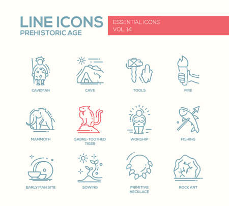 prehistorical: Set of modern vector plain line design icons and pictograms of pregistoric age life. Caveman, cave, tools, fire, fire, mammoth, sabre-toothed tiger, worship, fishing, early man site, sowing, rock art