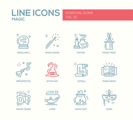 broomstick: Set of modern vector simple line design icons and pictograms of magic and fairy tale elements. Wand, potion, trick, witch hat, broomstick, mask, lamp, cards, pot, scroll, book