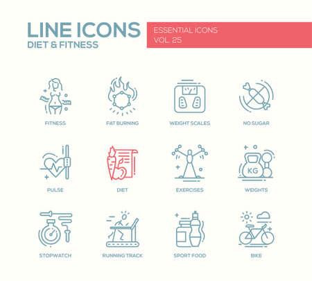 Conjunto de iconos modernos de vectores de diseño de líneas llano y pictogramas de la dieta, la aptitud y los elementos de estilo de vida saludables. las escalas de peso, pulso, ejercicios, en bicicleta, deportes, alimentos sin azúcar, cronómetro, pista de atletismo
