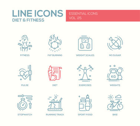 weight scales: Set of modern vector plain line design icons and pictograms of diet, fitness and healthy lifestyle elements. Weight scales, pulse, exercises, bike, sport, sugar free food, stopwatch, running track Illustration