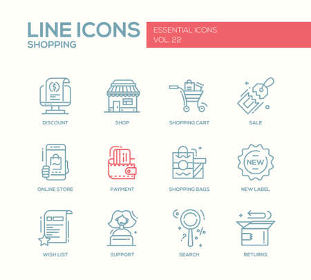 Set of modern vector simple line design icons and pictograms of shopping process elements. Discount, shopping cart, shop, sale, online store, payment, shopping bags, new label, wishlist, support, search, returns Vettoriali