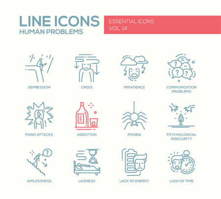 energy crisis: Set of modern vector simple line design icons and pictograms of common human psychological problems. Crisis, impatience, depression, panic attacs, insecurity, phobia, addictions, aimlessness, laziness, energy, time lack Illustration
