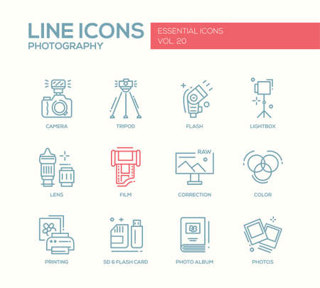 lightbox: Set of modern vector simple line design icons and pictograms of photography tools and equipment. Camera, lightbox, tripod, flash, lens, film, color, correction, photos, printing