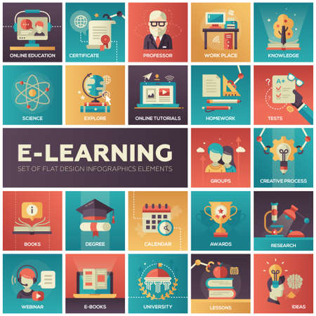 online education: Set of modern vector education, e-learning flat design icons in squares. Online education, professor, work place, knowledge, science, tutorials, tests, university, research lessons webinar